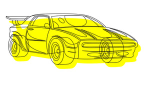 Yellow Sports Car Drawing