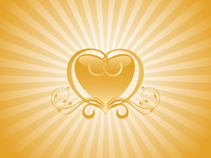 Yellow Swirl Elements And Heart Wallpaper