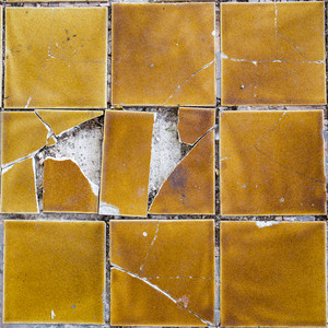 Yellow tile cracked