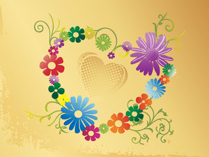 Yellow Valentines Background With Floral Heart