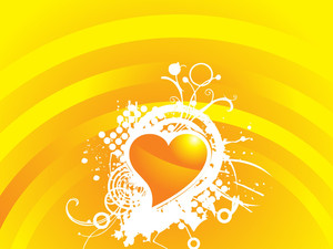 Yellow Valentines Heart-shape With Grunge And Floral Elements Illustration