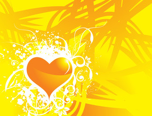 Yellow Vector Banner Of Hearts Theme