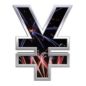 Yen Sign From Firework With Chrome Frame Alphabet Set