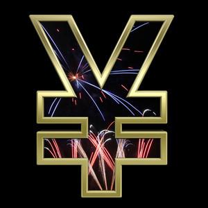 Yen Sign From Firework With Gold Frame Alphabet Set