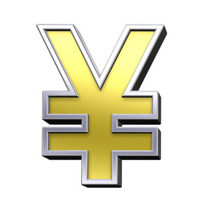 Yen Sign From Gold With Chrome Frame Alphabet Set