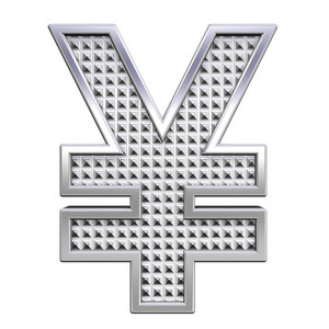 Yen Sign From Knurled Chrome Alphabet Set