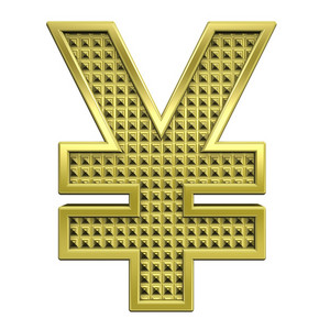 Yen Sign From Knurled Gold Alphabet Set