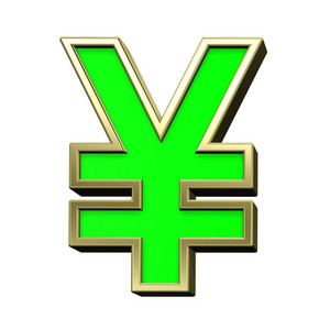 Yen Sign From Light Green With Gold Frame Alphabet Set,