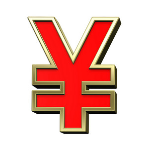 Yen Sign From Red With Gold Shiny Frame Alphabet Set