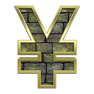 Yen Sign From Stone With Gold Frame Alphabet Set