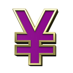 Yen Sign From Violet With Gold Shiny Frame Alphabet Set