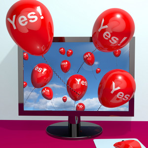 Yes Balloons From A Computer Showing Approval And Support Message Online