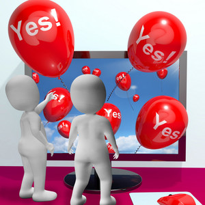 Yes Balloons From Computer Showing Approval And Support Message