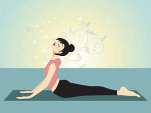 Yoga Girl With Creative Background