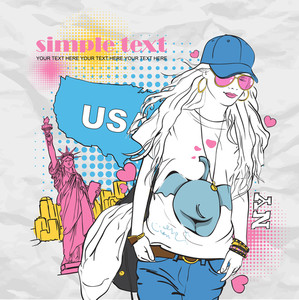 Yong Girl With Bag In Sketch-style On A Usa-background. Vector Illustration.
