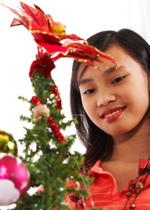 Young Asian Girl Enjoying Christmas