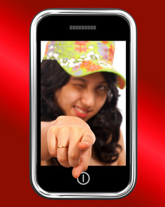 Young Asian Girl Pointing Out Of Mobile