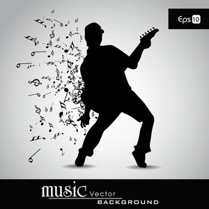 Young Boy Silhouette And Musical Notes With Burst Effect