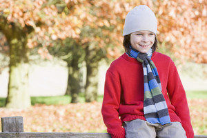 Young boy sitting on fence against autumn woods