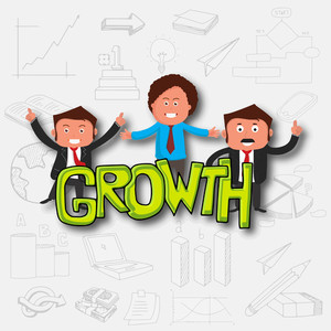 Young business men with green text Growth on various business infographic elements background for your print