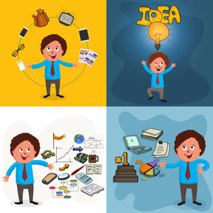 Young businessman character in different pose with various infographic elements.