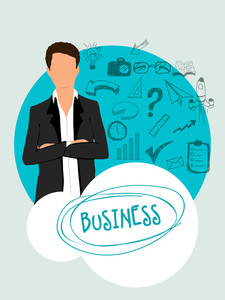 Young businessman with various business infographic elements