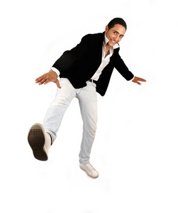 Young casual man full body over white background