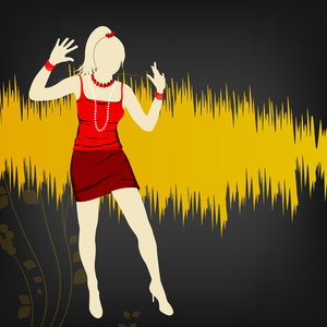 Young disco dancing girl on grey and yellow background