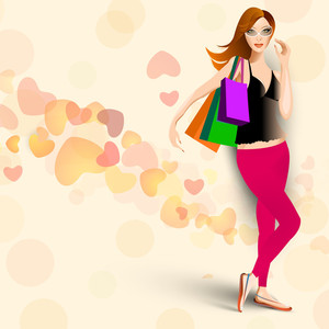 Young Fashionable Girl With Shoping Bags On Hearts Decorated Background