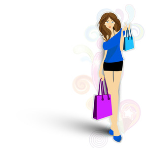 Young Fashionable Girl With Shopping Bags On Colorful Floral Decorated Background