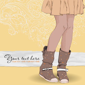 Young Girl In Boots On A Abstrackt-background. Vector Illustration