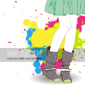 Young Girl In Boots On A Grunge-background. Vector Illustration