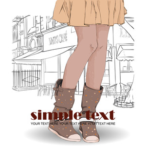 Young Girl In Boots. Vector Illustration