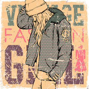 Young Girl In Sketch-style On A Grunge Background. Vector Illustration