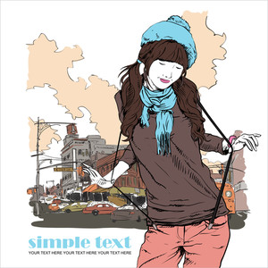 Young Girl With Beret In Sketch-style On A Town-background. Vector Illustration.