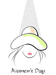 Young Girl With The Beautiful Hat With The Text Of Woman's Day. Vector.
