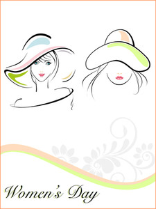 Young Girls Wearing Hat With The Text Of Woman's Day. Vector.