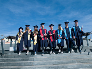 Young graduates group of students