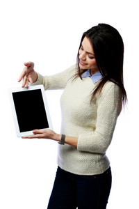 Young happy businesswoman showing on tablet computer screen isolated on white background
