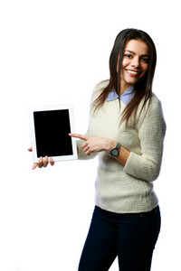 Young happy businesswoman showing tablet computer screen isolated on white background