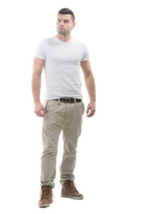 Young male model posing on white background
