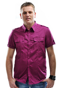 Young man in purple shirt