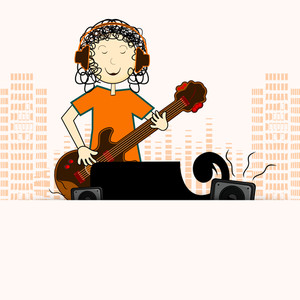 Young musician boy playing guitar on urban background