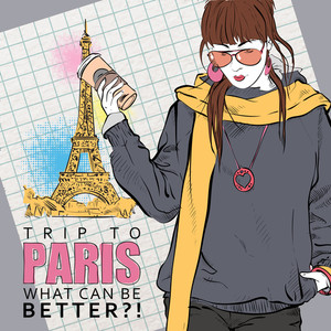 Young Pretty Girl With Coffee Cup On A Eiffel Tower Background. Vector Illustration