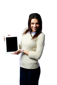 Young smiling businesswoman showing tablet computer screen isolated on white background
