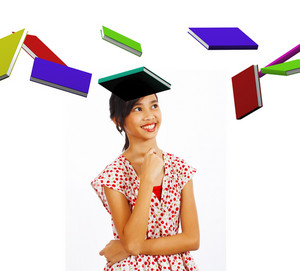 Young Student Smiling At Books Flying