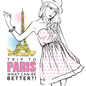 Young Stylish Girl On A Eiffel Tower Background. Vector Illustration