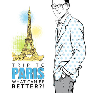 Young Stylish Guy On A Eiffel Tower Background. Vector Illustration