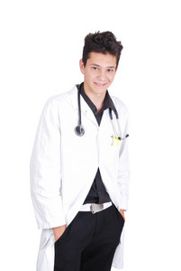 Young teenage male doctor with his hands in pockets
