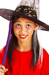 Young Witch With Broomstick